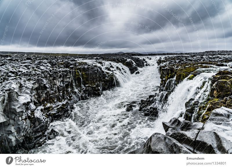 highlands Environment Nature Landscape Elements Water Sky Clouds Bad weather River bank Waterfall Iceland Europe Wet Wild Gray Deserted Free Force of nature