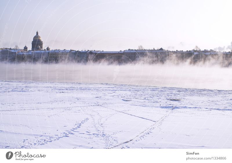 Fogged Neva River Ocean Winter Snow Feet Nature Sky Coast Lake Brook Town Downtown Church Building Footprint Freeze Dark cold Frost ice icy Crust steam water