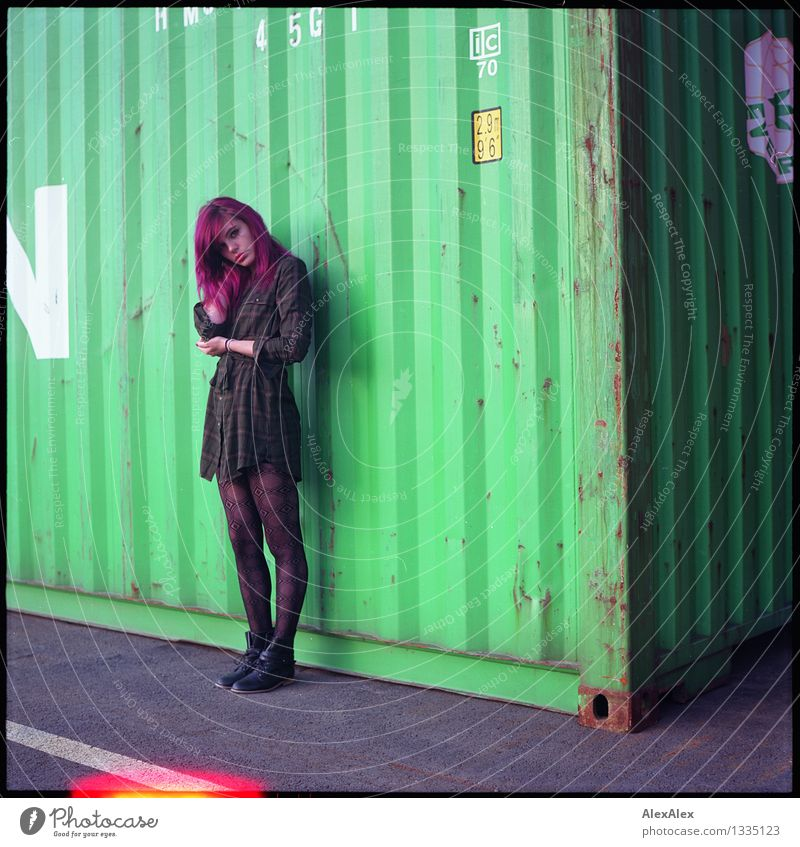 it says Harbour Young woman Youth (Young adults) Body 18 - 30 years Adults Container Dress Long-haired Light leak Looking Stand Esthetic Authentic Exceptional