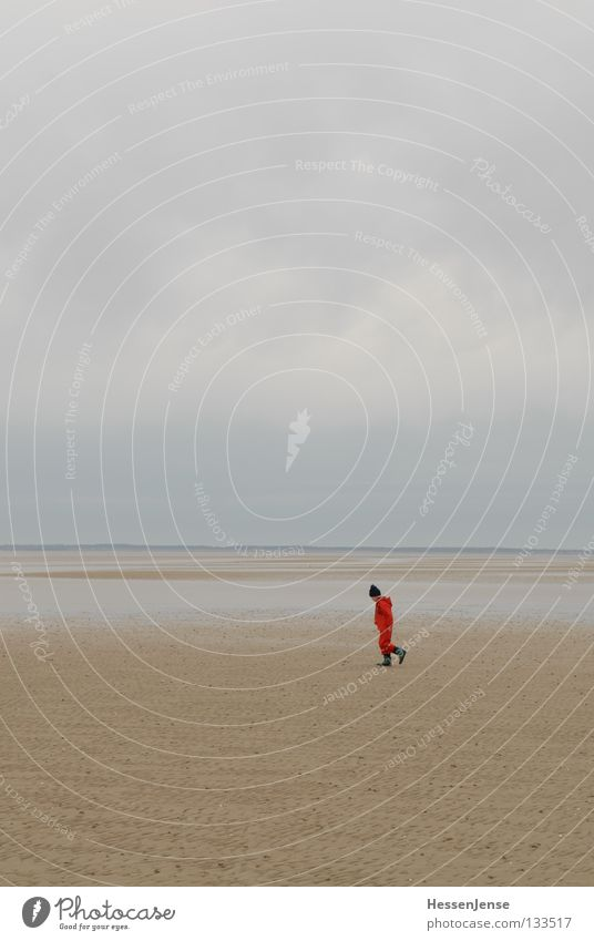 Child Vacation & Travel Ocean Red Loneliness Joy Far-off places Lake Rain Hope Search North Sea Find Mud flats Lost