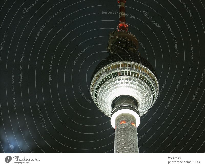 Berlin Television Tower Alexanderplatz Night Moonlight Architecture Berlin TV Tower