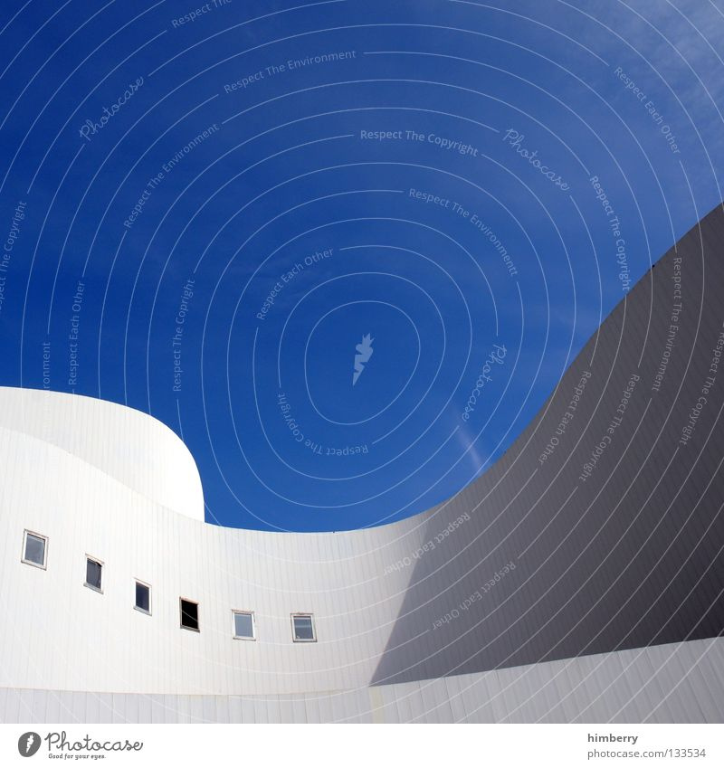 Sky Clouds House (Residential Structure) Wall (building) Building Wall (barrier) Line Art Waves Facade Concrete Stairs Modern Perspective Round