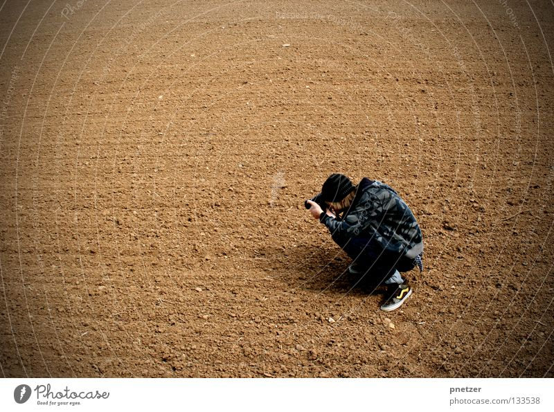 Photographer II Photography Field Man Crouch Joy Art Culture Camera Earth Nature Landscape kneel Work and employment