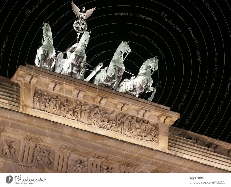 Horses as if from a single mould Brandenburg Gate Night Moody Wall (barrier) Historic Berlin