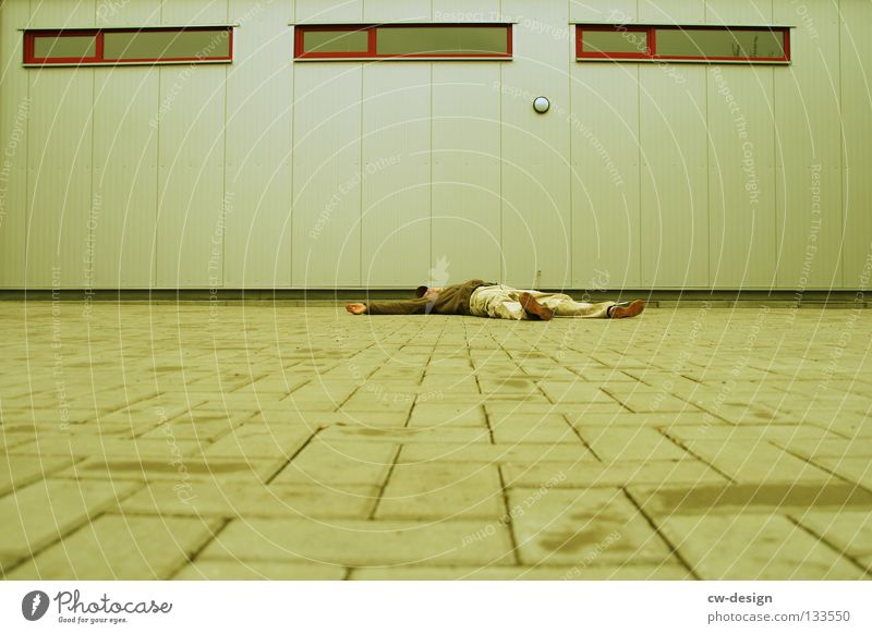 350th - chilling in urban space Relaxation Dream Bedroom Hallway Atrium Window Wall (barrier) Derelict Floor covering Chewing gum Pedestrian Timeless Stand Man
