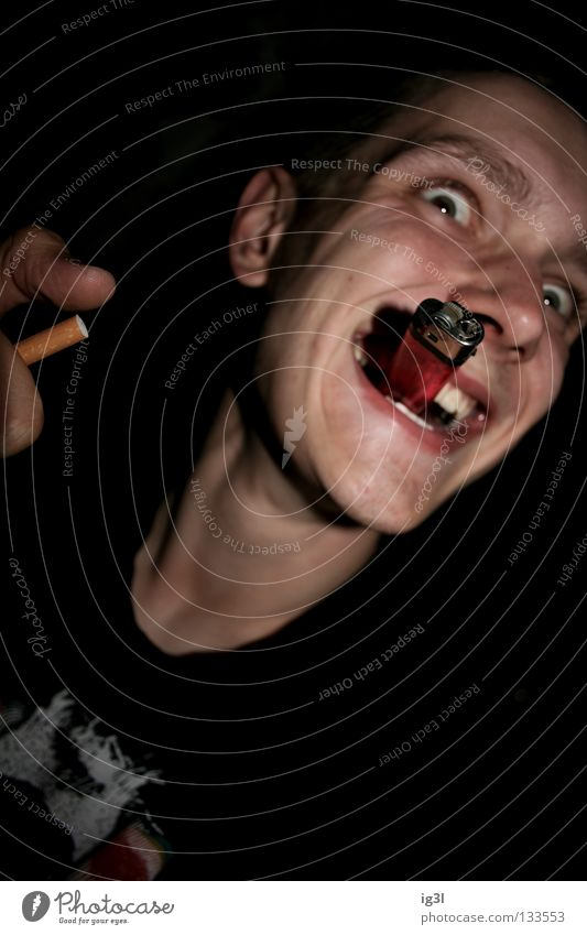 Human being Joy Laughter Success Crazy Teeth Smoking Cigarette Grinning Rotate Chaos Joke Madness Jubilee