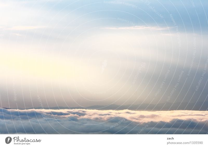 between clouds and sky Nature Sky Clouds Beautiful weather Bad weather Fog Rain Hill Mountain Blue White Colour photo Exterior shot Deserted Copy Space left