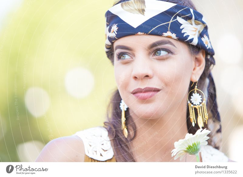 daydream Feminine Young woman Youth (Young adults) Face 1 Human being 18 - 30 years Adults Jewellery Earring Headscarf Brunette Long-haired Optimism Serene Calm