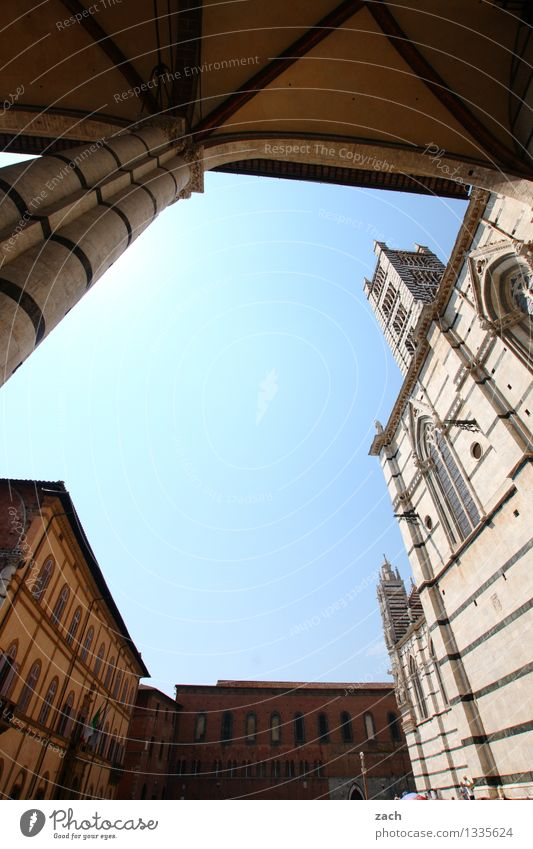 the inner circle Cloudless sky Siena Italy Tuscany Small Town Downtown Old town House (Residential Structure) Church Dome Palace Places Tower Manmade structures