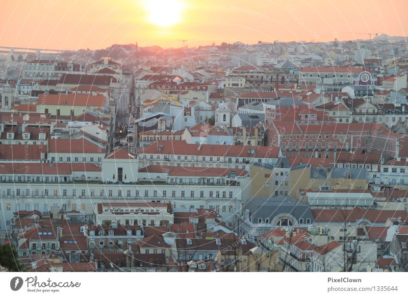 Sunset over Lisbon Lifestyle Calm Vacation & Travel Tourism Sightseeing City trip Economy Sunrise Capital city Building Architecture Tourist Attraction Looking