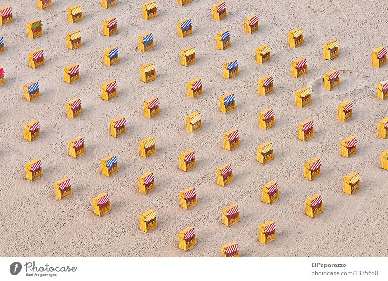 beach chairs Well-being Vacation & Travel Tourism Summer Summer vacation Beach Life Landscape Sand Coast North Sea Baltic Sea Swimming & Bathing Relaxation Lie