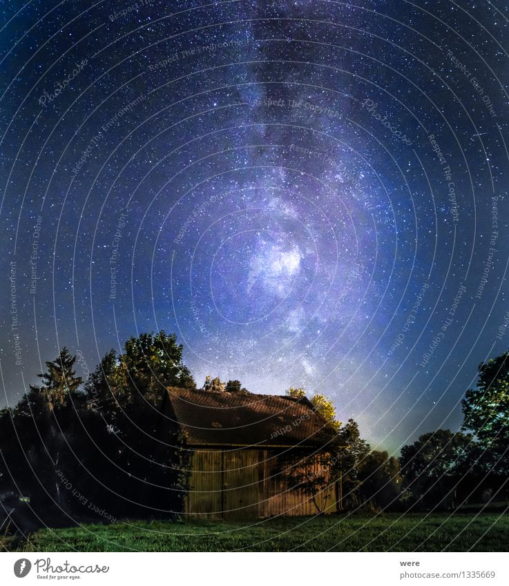 This old house... Sky Night sky Stars Meadow Field Deserted Hut Ruin Observatory Building Simple Gigantic Infinity Contentment Milky way Constellation Meteor