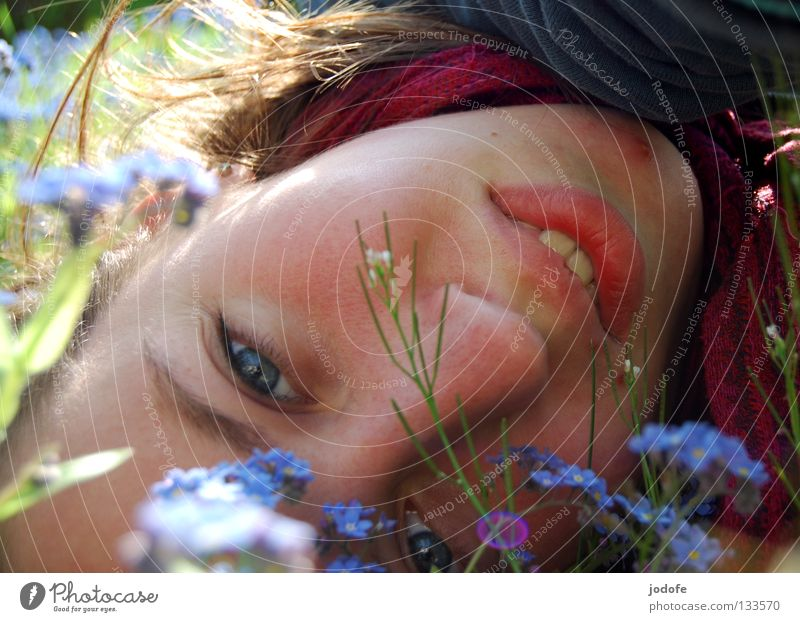 Through the flower Woman Feminine Good mood Joy Playing Childlike Spring Infatuation Calm Sunbathing To enjoy Loneliness Joie de vivre (Vitality) Flower Grass