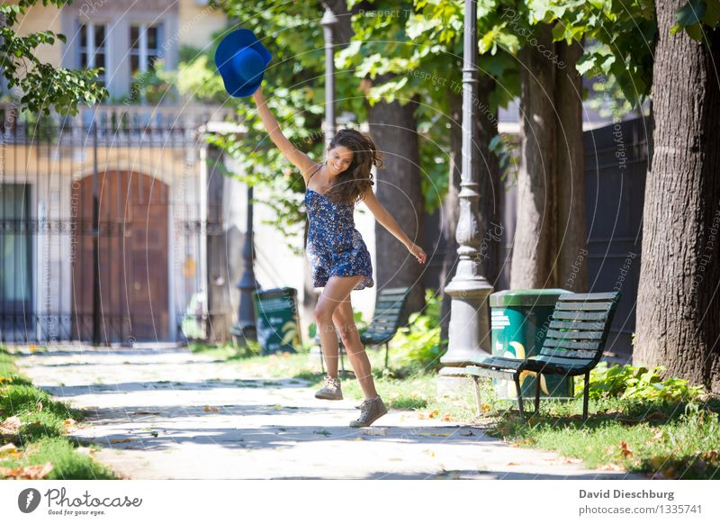 Human being Woman Youth (Young adults) City Beautiful Summer Young woman Tree Joy 18 - 30 years Adults Spring Feminine Happy Laughter Legs