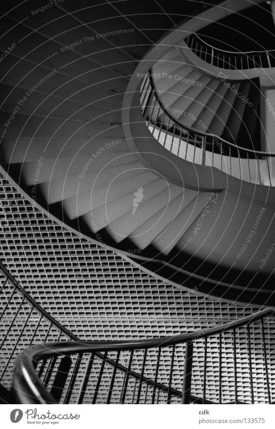 View upwards Stairs Banister Story Grating Concrete Steel Iron Pattern Grid Gray Direction Hallway Building Dark Deep Alternating Small Large Rotation Round