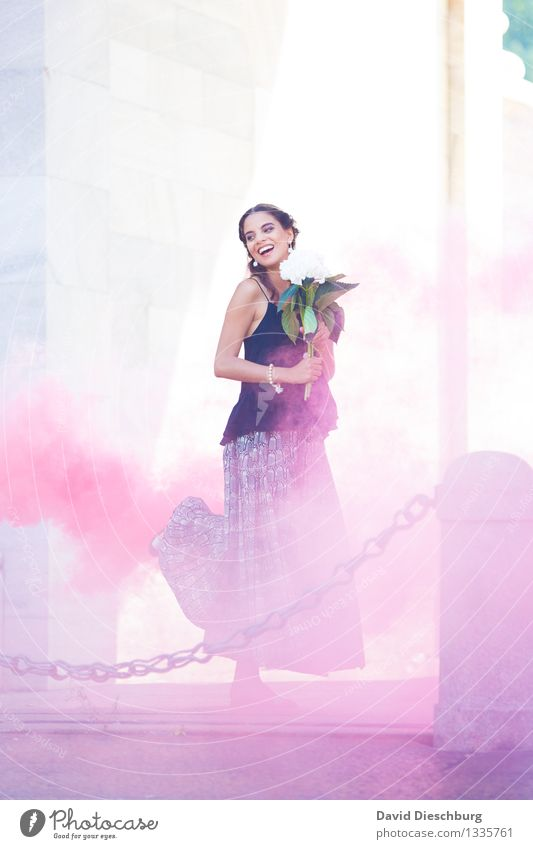 Dance in the smoke Feminine Young woman Youth (Young adults) Body 1 Human being 18 - 30 years Adults Town Dress Brunette Blue Yellow Violet White Joy Happy