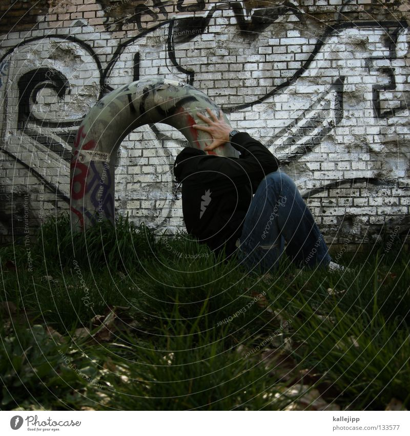 Human being Man Graffiti Grass Think Funny Protection Creativity Idea Concentrate Whimsical Pipe Bizarre Obscure Thought Humor