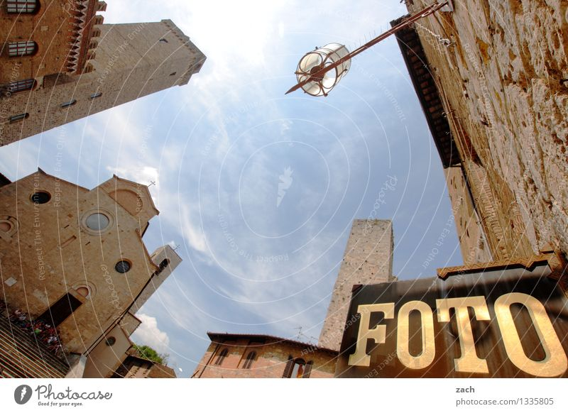settled San Gimignano Italy Tuscany Village Small Town Downtown Old town House (Residential Structure) High-rise Church Dome Palace Places Tower