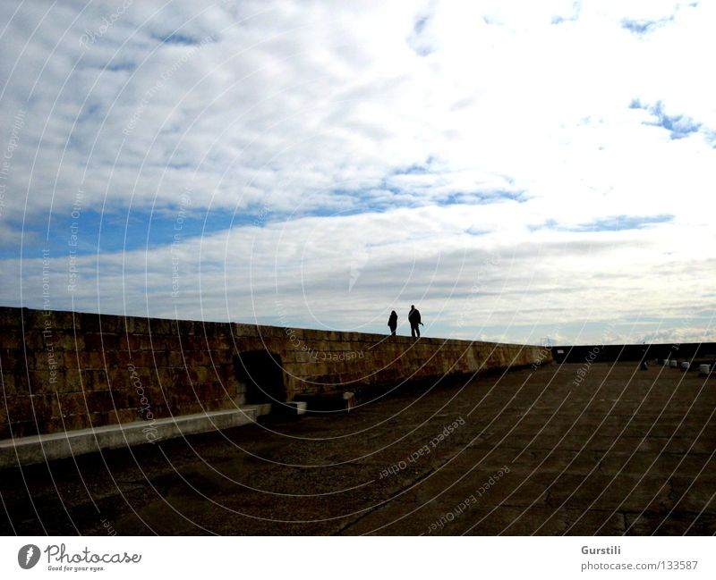 Human being Sky Clouds Wall (barrier) Horizon To go for a walk Ireland