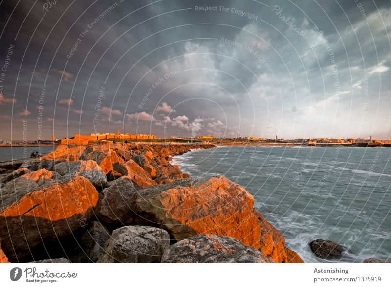 Sky Nature City Summer Water Ocean Landscape Clouds House (Residential Structure) Dark Environment Coast Stone Moody Rock Horizon