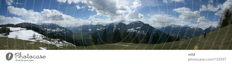 Human being Sky Vacation & Travel Meadow Mountain Landscape Hiking Going Large Alps Beautiful weather Austria Nature Panorama (Format) Alpine pasture Federal State of Tyrol