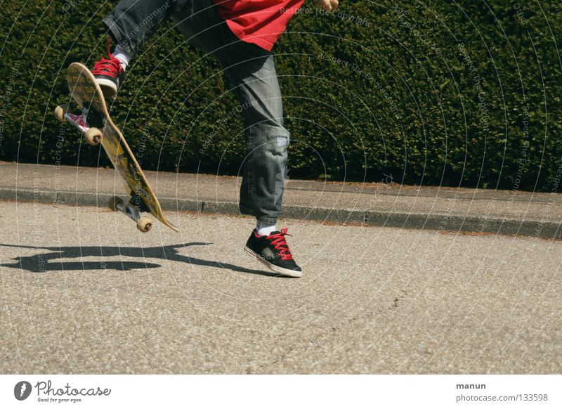 Child Youth (Young adults) Red Joy Black Street Sports Boy (child) Jump Playing Movement Healthy Leisure and hobbies Asphalt Fitness Skateboarding