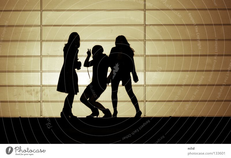 covershooting Girl band 3 Singer Wall (building) Youth (Young adults) Joy String Contrast Music Silhouette critical ops Structures and shapes Row girls band
