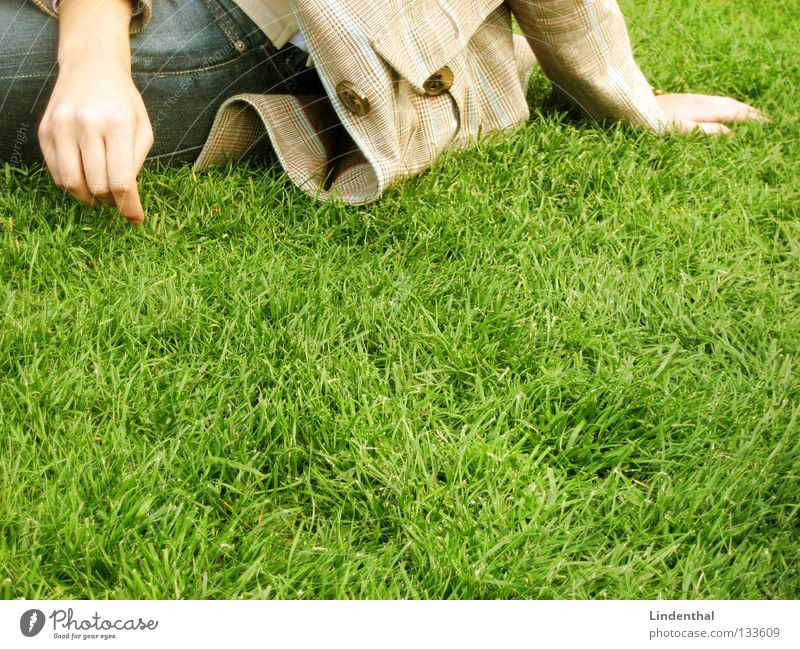 Woman Hand Meadow Playing Sit Lie Blade of grass Exciting Inattentive Plucking