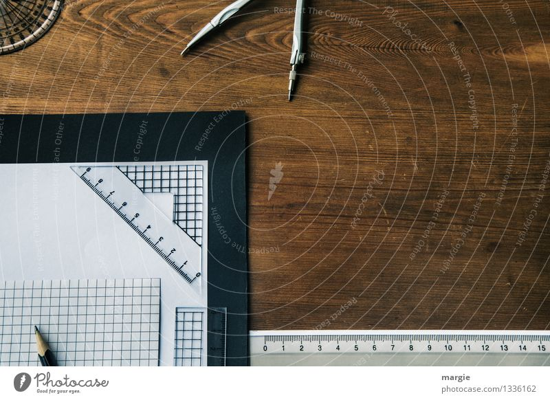 Geometry on the desk, squared paper, compass and ruler Education Science & Research School Study Professional training Apprentice Academic studies