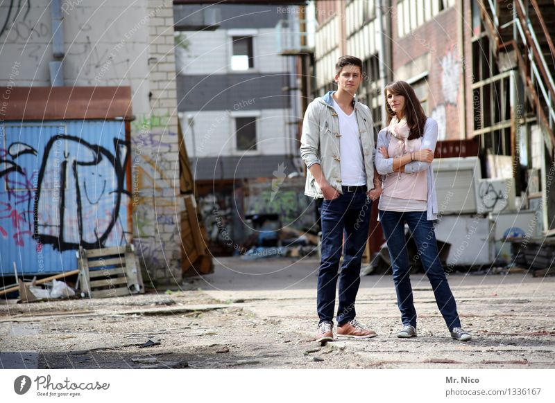 Human being Woman Man Adults Graffiti Feminine Style Building Lifestyle Fashion Couple Friendship Masculine Contentment Dirty Authentic