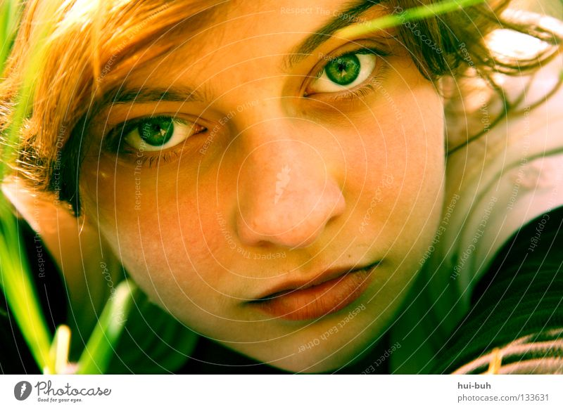 The photo with the deleted title Girl Hideous Portrait photograph Summer Meadow Boredom Green Red Physics Hot Perspire Picnic Blade of grass Flower Environment