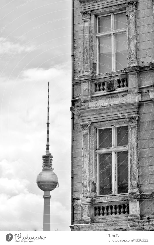 Corner Berlin Town Capital city Downtown Old town Deserted House (Residential Structure) Window Tourist Attraction Television tower Fear of the future Past