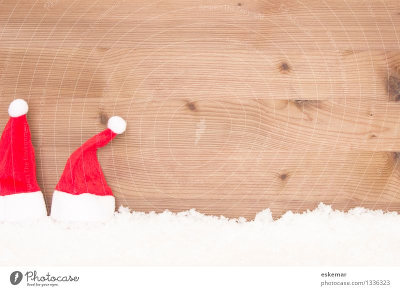 Christmas! Feasts & Celebrations Christmas & Advent Santa Claus Winter Snow Cap Santa's cap Wood Brown Red White Esthetic Background picture Colour photo