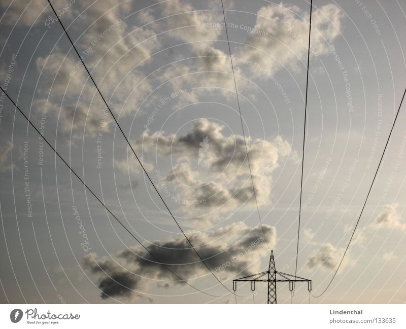 cloud tension Electricity Electricity pylon Clouds Line Flow High voltage power line Might Transmission lines Sky Structures and shapes Lanes & trails Blue