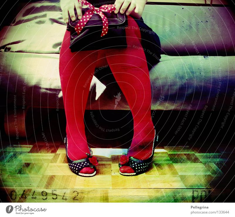 Woman Hand Red Colour Legs Sit Wait Point Sofa Stockings Bag Rainbow Parquet floor Intensive Clothing Intoxicant