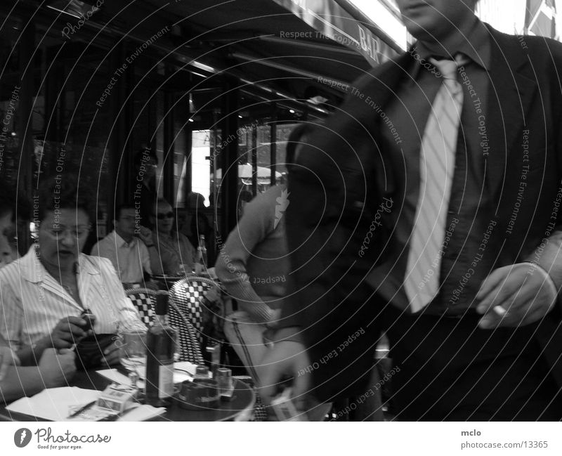 Champs Elysee contrasts Paris Café Sidewalk café Haste Group Chaps Elysee Sit Black & white photo