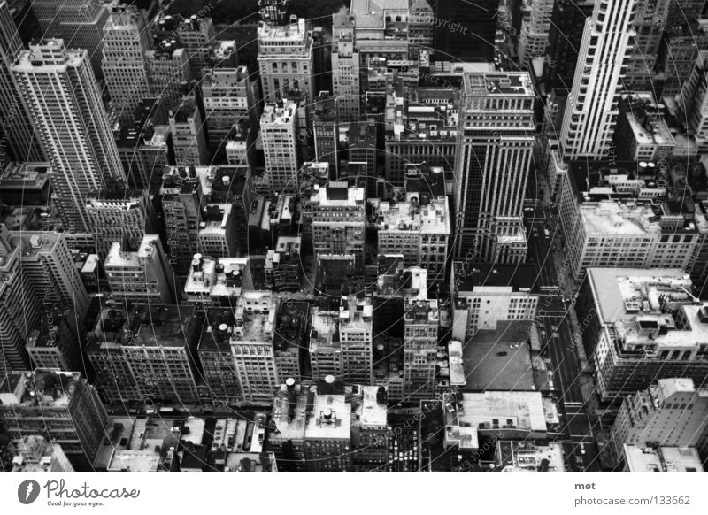 NYC Empire State building New York New York City Bird's-eye view House (Residential Structure) High-rise Town Large Stress Black & white photo Above