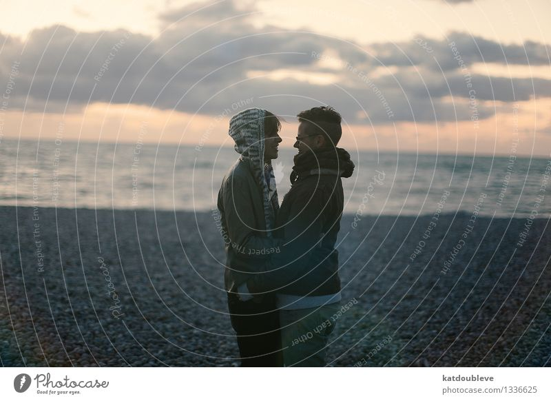 The roads you're going to find Androgynous Homosexual Couple Partner 2 Human being Coast Beach Ocean To enjoy Smiling Love Free Together Happy Cuddly Near