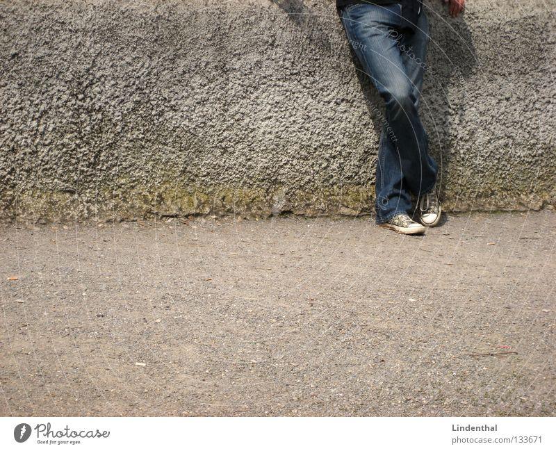 Man Hand White Gray Wall (barrier) Footwear Wait Going Concrete Jeans Stand Desire Chucks Patient Endurance Lean