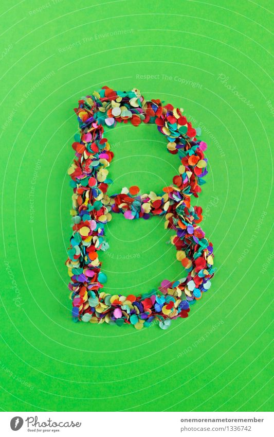 B Art Work of art Esthetic b Letters (alphabet) Green Bilious green Alphabetical Typography Characters Confetti Creativity Playing Design Multicoloured