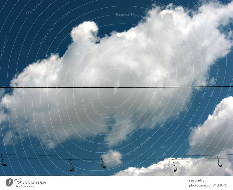 Sky Clouds Line Empty Horizontal Chair lift Photos of everyday life Cloud pattern