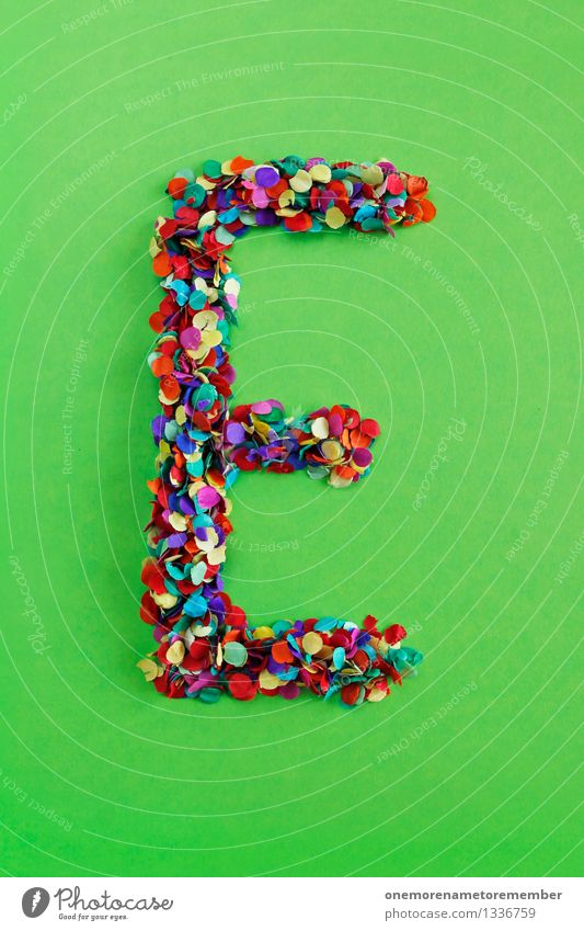 e Art Work of art Esthetic Letters (alphabet) Typography Alphabetical Bilious green Confetti Many Mosaic Design Creativity Idea Colour photo Multicoloured