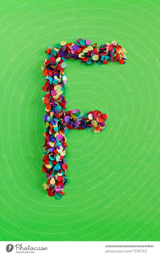 f Art Work of art Esthetic Letters (alphabet) Typography Latin alphabet Confetti Many Point Mosaic Multicoloured Grass green Design Creativity Idea Colour photo
