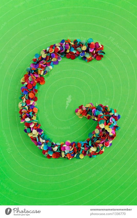 g Art Esthetic Letters (alphabet) Typography Alphabetical Confetti Many Point Mosaic Bilious green Creativity Design Colour photo Multicoloured Interior shot