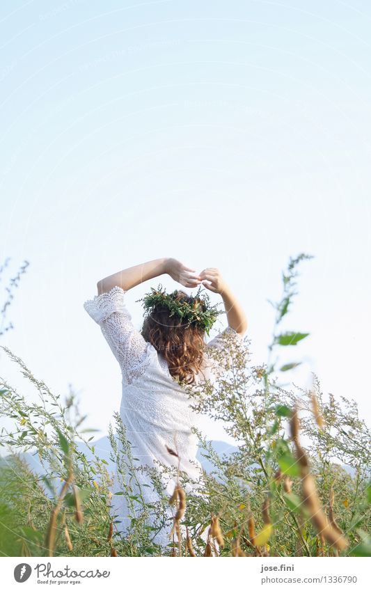 Meadow Queen II Feminine Girl Young woman Youth (Young adults) 13 - 18 years Nature Landscape Cloudless sky Beautiful weather Plant Foliage plant Field Wreath