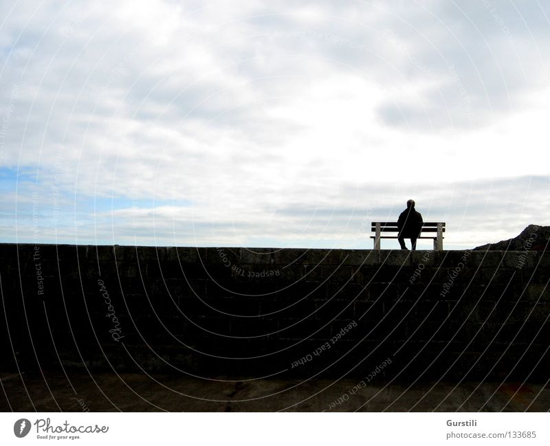 Man Sky Clouds Relaxation Wall (barrier) Horizon Sit Break Bench