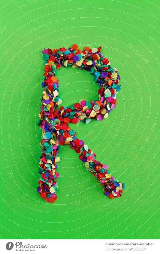 Green Art Design Esthetic Creativity Letters (alphabet) Many Typography Work of art Confetti Mosaic Latin alphabet R Bilious green