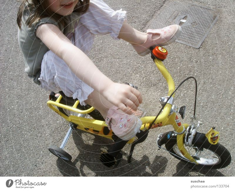 Child Girl Joy Street Feet Legs Arm Small Sit Driving Asphalt Brave Toddler Cycling Brash