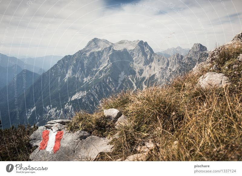Red White Red Nature Landscape Autumn Rock Mountain Peak Adventure Leisure and hobbies Austria Gesäuse National Park Colour photo Exterior shot Deserted Day