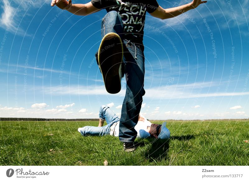 Man Nature Youth (Young adults) Sky White Green Blue Summer Calm Clouds Far-off places Colour Relaxation Meadow Jump Style